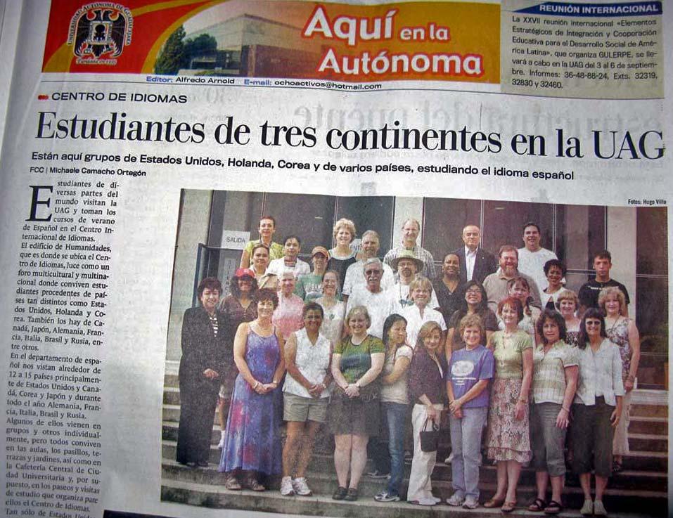 Guadalajara autonomo university article about students studying Spanish.
