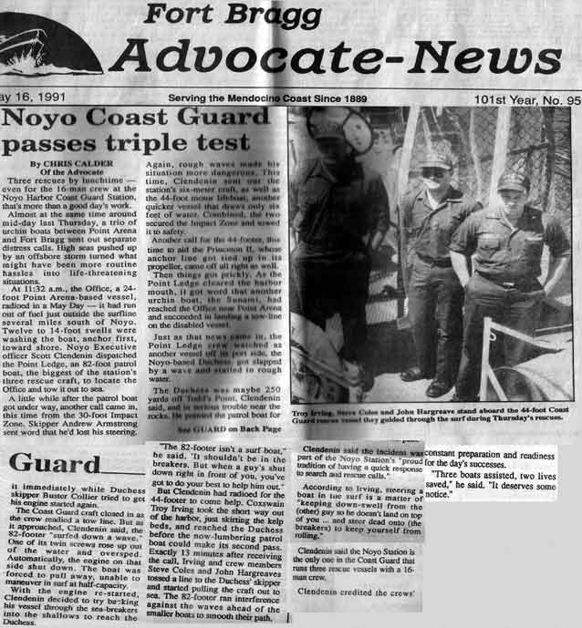 Fort Bragg Advocate article about a busy        time at Noyo Harbour